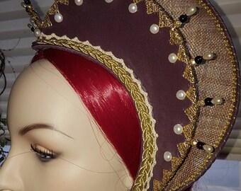 Elizabethan, Attifet, Renaissance, Tudor, Headdress, Double Row - MADE TO ORDER