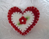 Valentine Brooch Pin Red Penny Rug Felt Flower Heart Primitive
