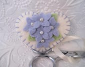 Felt Flower Fob Scissor Charm Beaded Pastel Blue Wool Felted Pinkeep