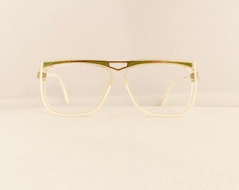 80s Cazal Eyeglasses Frames 1980's White with Green & Gold Detail Frames Made in Germany #M553 DIVINE