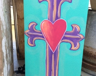 Cross Love Painting Original Art on Canvas