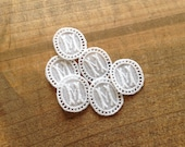 6 tiny authentic Swiss vintage embroidery monogram M embroidered woven initial tag label antique personalise hand crafter supply