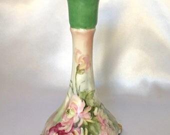 Antique Jean Pouyat Limoges Porcelain Floral Candlestick Holder