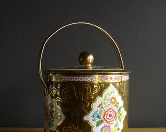 Large Vintage Flower Tea Tin - Tin Lunch Tote - Made in England