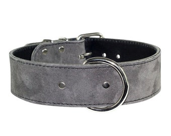 Grey Leather Collar - Leather Suede Dog Collar - Grey Suede Leather Dog Collar With Nickel Hardware (Made In Ca)