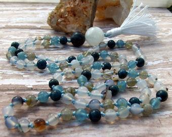Agate Mala, Rainbow Moonstone Mala, Apatite Mala, Blue Calcite Mala, Labradorite Mala, Blue Mala, White Mala, Prayer Beads, Japa