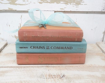 Vintage Books, Aqua Rust Books, Old Books, Decor Books, Antique Books, Home Office Decor, Instant Library, Shabby Cottage Chic, Farmhouse