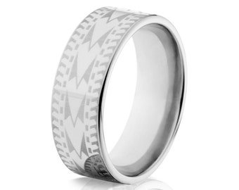 Tribal Wedding Rings, 8mm Titanium Tribal Ring: 8F-TribalLaser