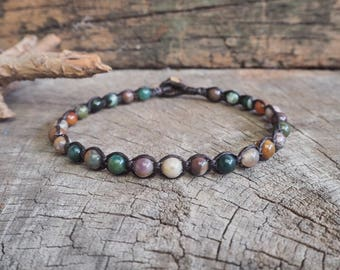 Fancy Jasper Beads Anklet/Bracelet, Unisex Simple Anklet, 6mm beads