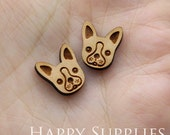 4pcs (SWC187) DIY Laser Cut Wooden Dog Charms