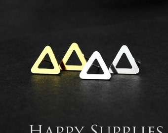 Nickel Free - High Quality Triangle Dual-used Golden / Silver / Rose Gold Brass Earring Post Finding with Ear Stud Stopper (ZEN107)