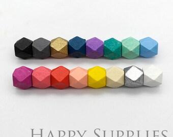 10pcs 12mm Colorful Cube Geometric Wooden Beads (MT022)