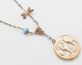 Antique Locket Necklace, Gold Filled Locket, Victorian Locket Pendant with Blue Opal Beads, Dragonfly Charm & Filigree, Vintage Photo Locket