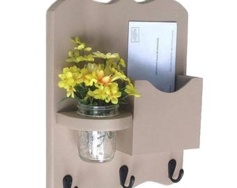 Mail Organizer - Mail and Key Holder - Letter Holder - Key Hooks - Jar Vase - Organizer