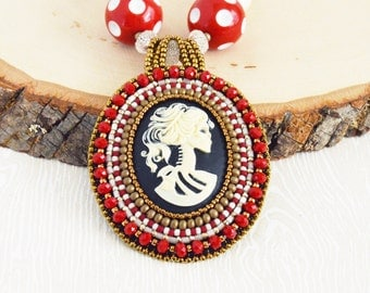Victorian Skeleton Bead Embroidery Necklace-Female Skeleton Cabochon, Statement Necklace, Beadwork, Bead Embroidery, Cameo, Pendant, OOAK