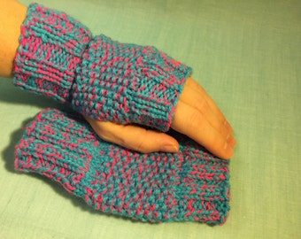 Aqua Turquoise Blue & Neon Pink Fingerless Gloves – Hand knitted