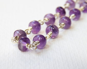 Long Amethyst Necklace - Sterling Silver Rosary Necklace Beaded Necklace Rosary Chain Beadwork Necklace