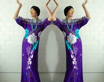 purple malama hawaiian dress - 1211204