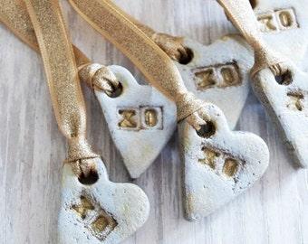 XOXO Heart / Ornaments Set / Whitewash Gold / Wedding favors / Guest Favors / Valentine Heart  / Salt Dough Ornaments