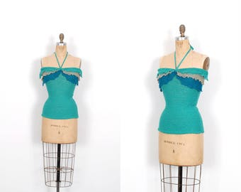 Vintage 1970s Top / 70s Blue Knit Halter Top / Tube Top ( small S )