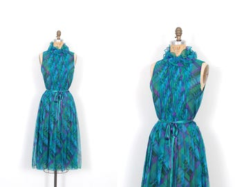 Vintage 1960s Dress / 60s Plaid Chiffon Ruffled Party Dress / Blue and Green ( medium M )