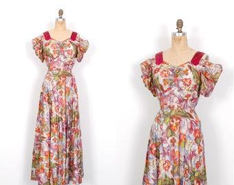 Vintage 1930s Dress / 30s Floral Print Taffeta Gown / Pink and Blue ( medium M )