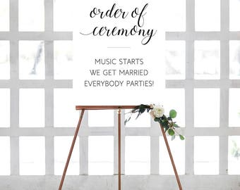 Order of Ceremony, Funny Wedding Sign, Printable Wedding Decor, Wedding Poster, Music Starts, We Get Married, Everybody Parties, Alejandra
