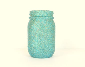Aqua Blue and Gold Blend Glittered Pint Mason Jar, Flower Vase, Wedding Decoration, Makeup Brush Holder, Pen and Pencil Holder