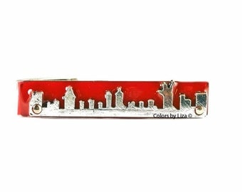 New York City Skyline Tie Clip Inlaid in Hand Painted Glossy Red Enamel Classic Tie Bar Accent Assorted Colors and Personalization Available