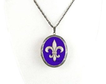 Fleur De Lis Pill Box Necklace Inlaid in Hand Painted Cobalt Enamel Antique Silver Oval Locket Necklace with Color and Personalized Options