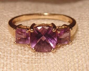 14KT Gold Amethyst Ring Cushion Cut Amethyst Gold Ring 14K Ring 14K Jewelry Gold Ring Size 7 Ring 585 Gold Estate Jewelry Sz 7 Gold Ring