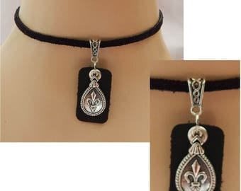 Silver & Black Leather Fleur de Lis Choker Necklace Handmade Adjustable new Accessories Fashion