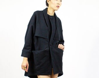Black Beehive Sweater jacket / Herringbone fleece oversized cardigan sweater - Fall / transitional fashion