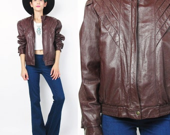 Vintage Cropped Leather Jacket 1980s Motorcycle Moto Jacket Womens Burgundy Leather Jacket Fitted Red Brown Leather Bomber Jacket E254