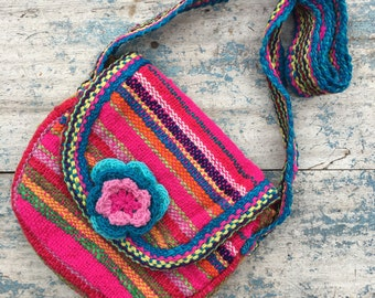Vintage girl's woven cotton purse bright pink multicolor Mexican purse