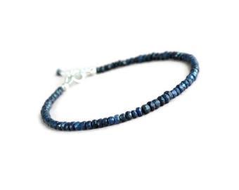 Genuine sapphire bracelet, silver sapphire bracelet, blue bracelet, september birthstone
