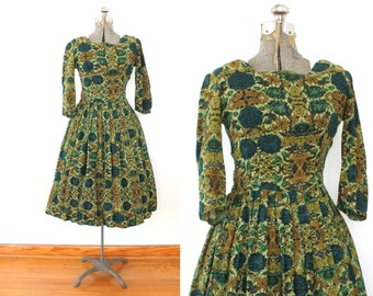 50s Dress / 1950s Green Floral Wool Full Skirt Dress
