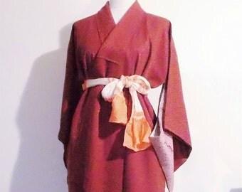 Vintage light formal KIMONO SHIBORI TUKESAGE matelasse burgundy size Small ready to ship