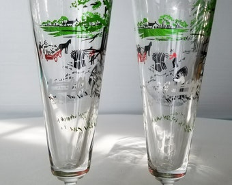 Two Libbey Pilsner Glasses with Farm Scene