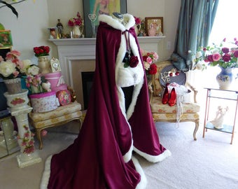 Medieval Celtic Wedding 52/67 inch Bridal Cape Burgundy / Ivory Satin with Fur Wedding Cloak Handmade in USA
