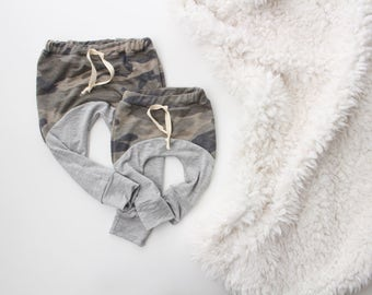 NB - 2T/3T weathered camo and grey jogger baby leggings | baby leggings | baby joggers | heather baby leggings | gray baby | hipster boy