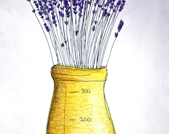 Lavender original illustration, matted, purple flowers, yellow mason jar, spring, yellow, purple, large art, ink, colored pencils, drawing