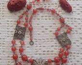 Vintage Carnelian Glass Jewelry Parts for Repurposing
