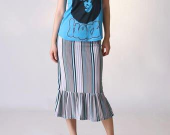 NEW  Ruffle Hem Midi Skirt, Ruffle Skirt, Pencil Skirt, Vertical Stripe  Skirt, Flounce Skirt, Summer Skirt, Pull On Skirt, Jersey Skirt