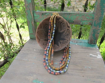 Lot of 4 Full Unique Strands of Vintage Krobo Tribal West African Trade Beads ~ Recycled Glass Beads ~ Sand Cast Beads ~ Ghana Trade Beads ~