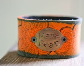 CUSTOM HANDSTAMPED CUFF - bracelet - personalized by Farmgirl Paints -  Mama Bear handpainted stamped leather cuff