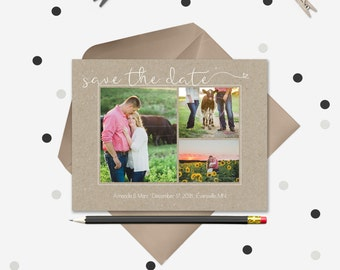 Save the Date Magnets or Cards · Handwriting on kraft paper · 3 photo collage · Custom Design
