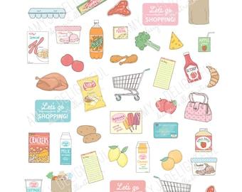 Printable GROCERY SHOPPING stickers!-Digital File Instant Download-groceries, super market, cart, food, purse, Happy planner, erin condren