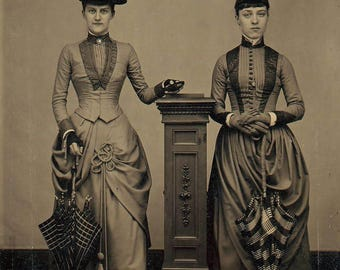 Time Travelers? What is she Holding? Victorian Sisters Friends Women Long Dresses Hats Sepia or B&W 1870s Steampunk Goth Decor Photography