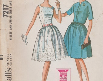 McCalls 7217 / Vintage 1960s Sewing Pattern / Dress And Jacket / Size 13 Bust 33